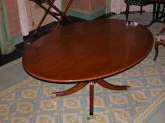 English Made Banded Mahogany Oval Dining Room Table on Single Pedestal