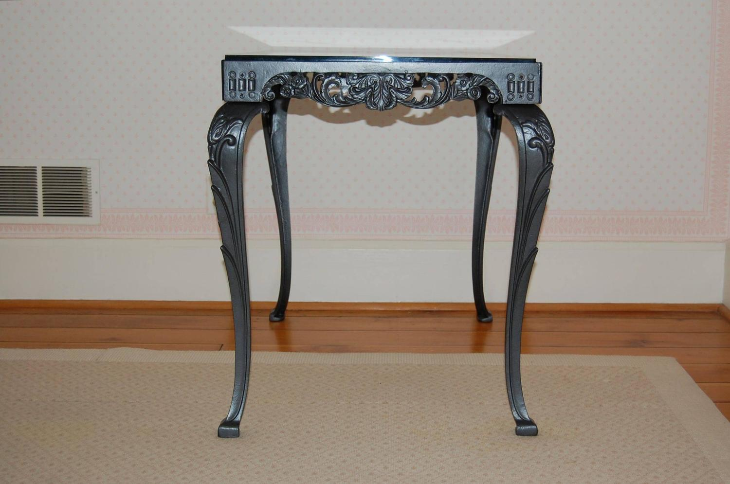 Fancy Cast Iron Rectangular Table Base With Glass Top For