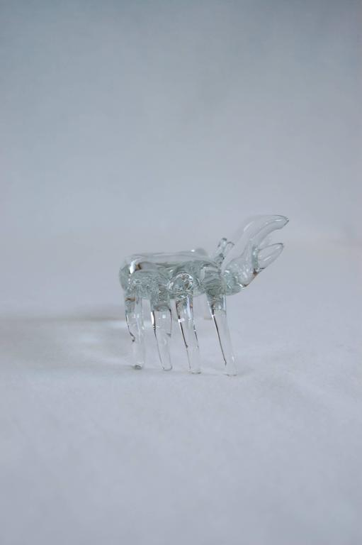Hand-Crafted Modern Handmade Clear Glass Figure of a Sand Crab For Sale
