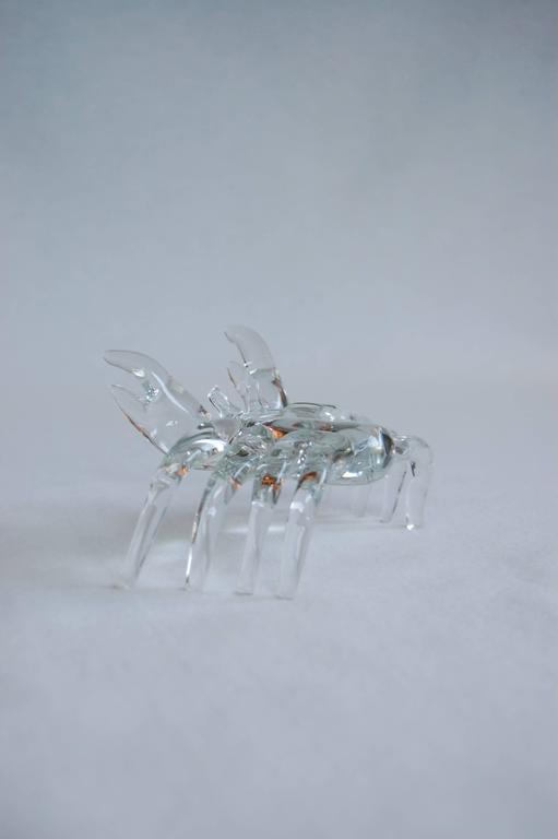 20th Century Modern Handmade Clear Glass Figure of a Sand Crab For Sale