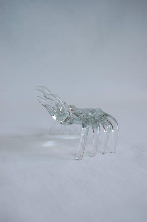 Modern Handmade Clear Glass Figure of a Sand Crab For Sale 1