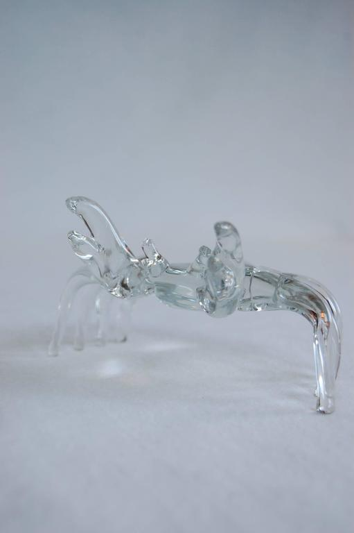 Modern Handmade Clear Glass Figure of a Sand Crab For Sale 2