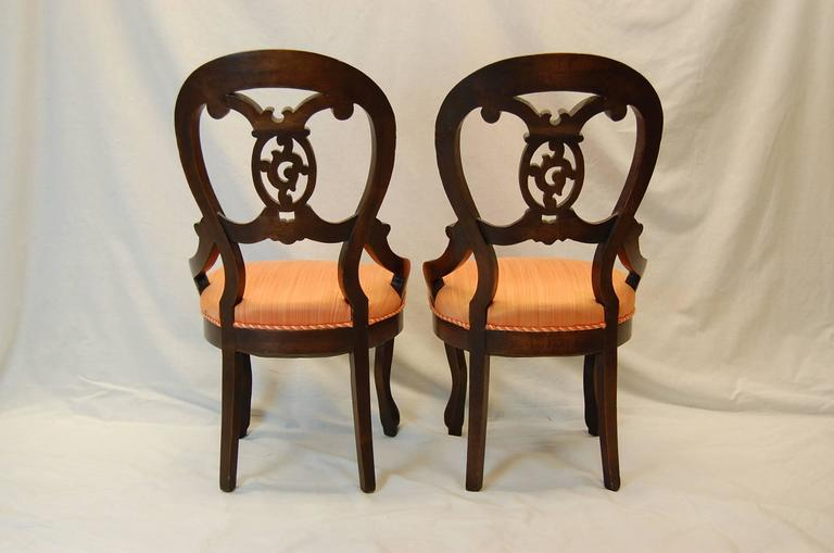 Pair Victorian Walnut Carved Parlor Chairs Circa 1870 At