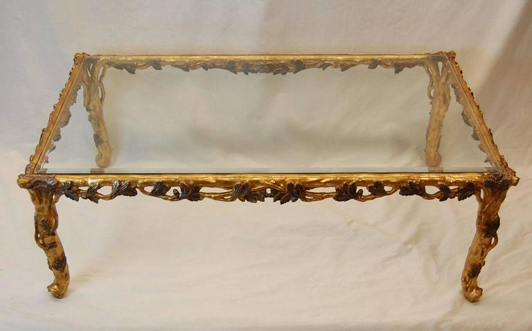 Italian Gold Leaf Carved Wood Coffee Table with Beveled Glass Top