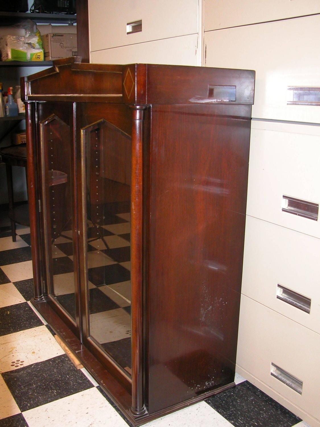 pair of mahogany upper cabinets with glass doors for sale