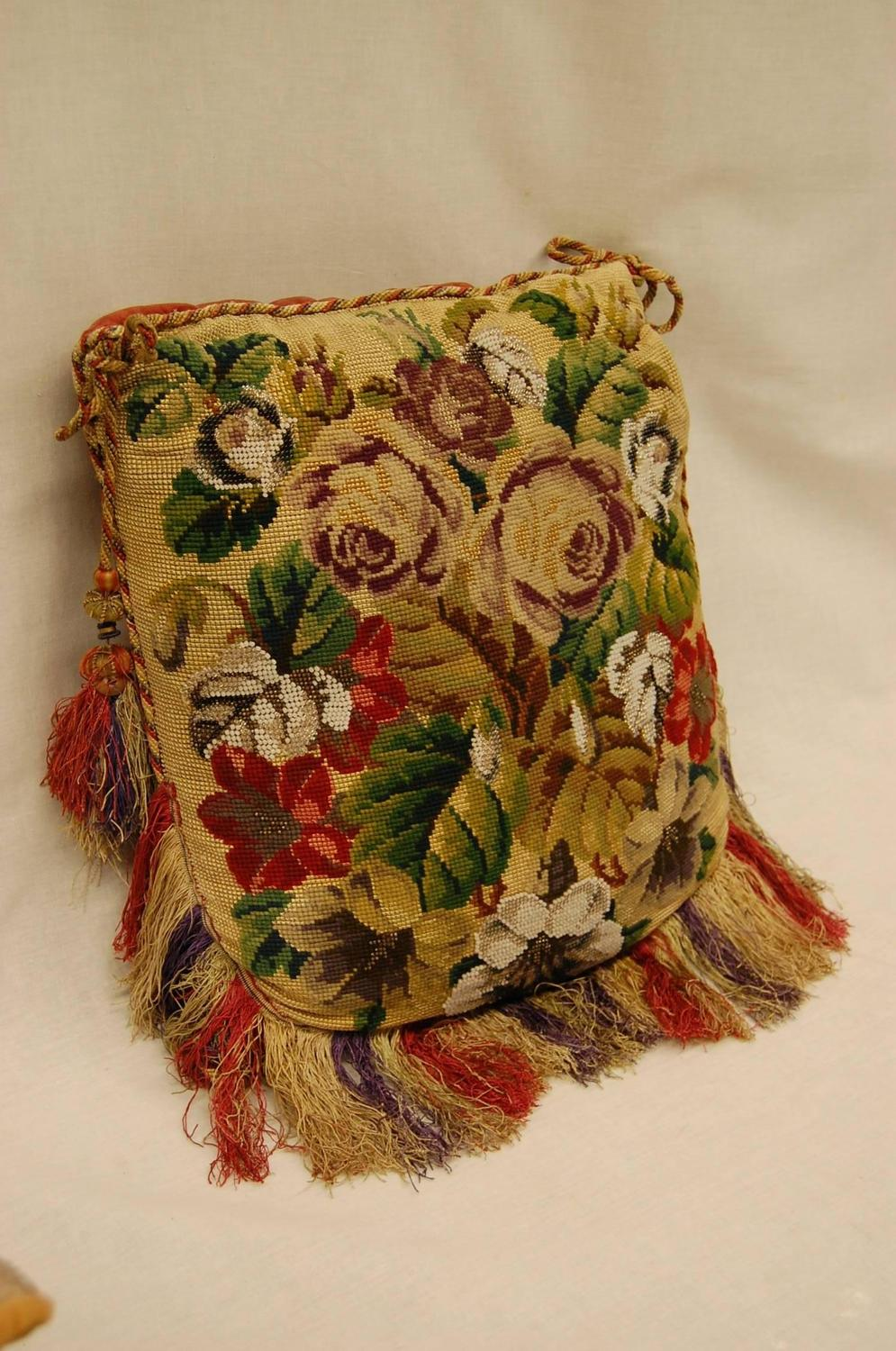 Victorian Tapestry Pillows : 19th Century Victorian Needlepoint and Glass Beaded Panel on a Pillow For Sale at 1stdibs