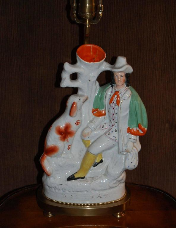 English 19th Century Staffordshire Spill Vase, Gentleman and His Dog, Mounted as a Lamp For Sale