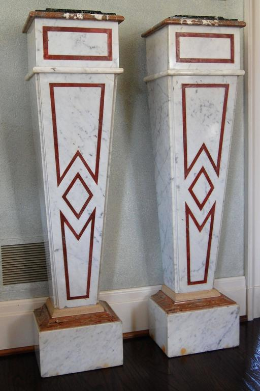 Pair of Italian Neoclassical Marble Pedestals, Late 19th Century In Excellent Condition For Sale In Pittsburgh, PA