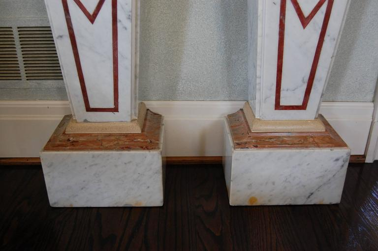 Carrara Marble Pair of Italian Neoclassical Marble Pedestals, Late 19th Century For Sale
