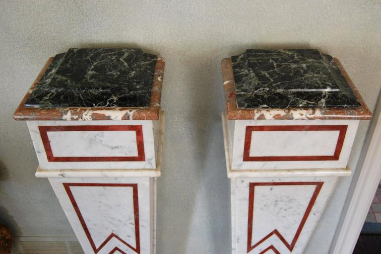 Pair of Italian Neoclassical Marble Pedestals, Late 19th Century For Sale 2
