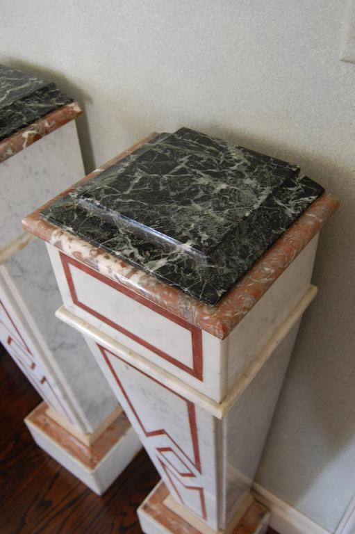 Pair of Italian Neoclassical Marble Pedestals, Late 19th Century For Sale 3
