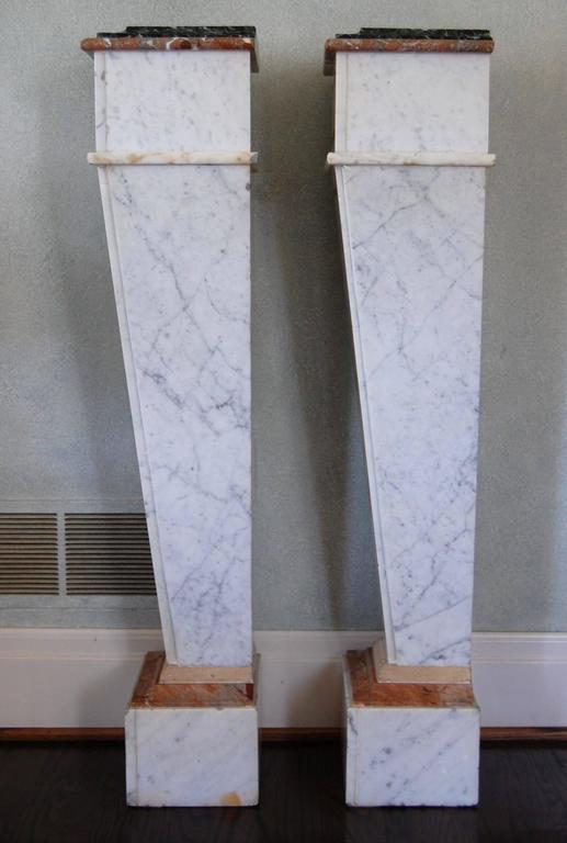 Pair of Italian Neoclassical Marble Pedestals, Late 19th Century For Sale 4