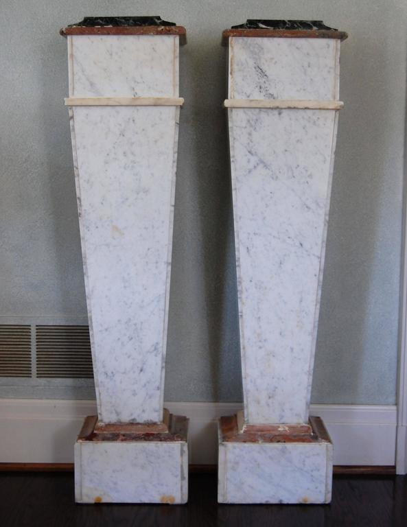 Pair of Italian Neoclassical Marble Pedestals, Late 19th Century For Sale 5