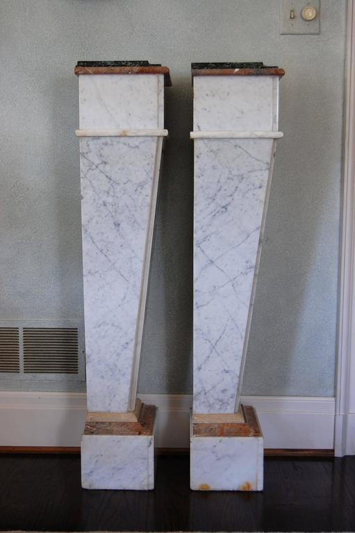 Pair of Italian Neoclassical Marble Pedestals, Late 19th Century For Sale 6