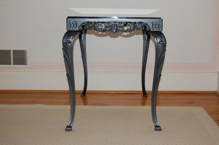 Fancy Cast Iron Rectangular Table Base With Glass Top