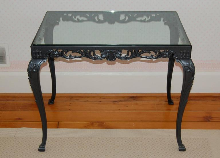 American Fancy Cast Iron Rectangular Table Base with Glass Top, circa 1930s For Sale