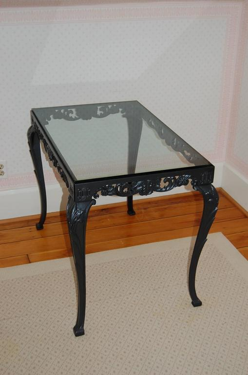 Mid-20th Century Fancy Cast Iron Rectangular Table Base with Glass Top, circa 1930s For Sale