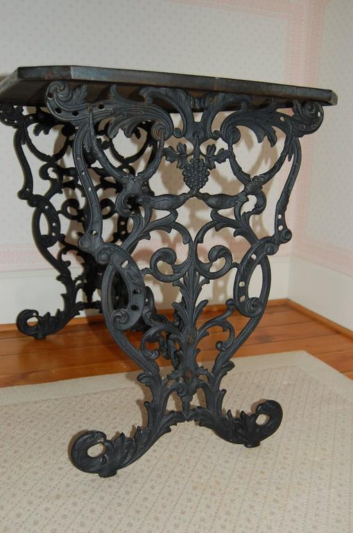 19th Century Cast Iron Table w/ Original Iron Top in the Style of Coalbrookdale, late 19th C. For Sale