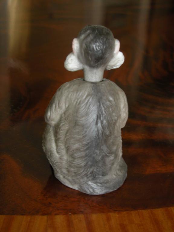 German 19th Century Porcelain Bobblehead Nodder of a Monkey by Ernst Bohne & Sohne For Sale