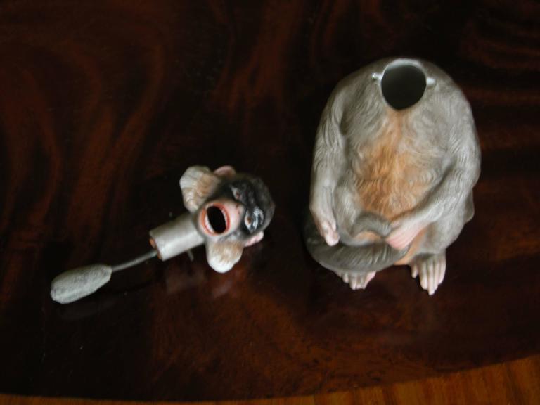 19th Century Porcelain Bobblehead Nodder of a Monkey by Ernst Bohne & Sohne For Sale 1