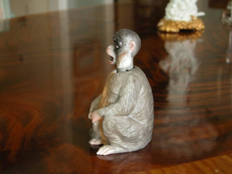 19th Century Porcelain Bobblehead Nodder of a Monkey by Ernst Bohne & Sohne For Sale 2