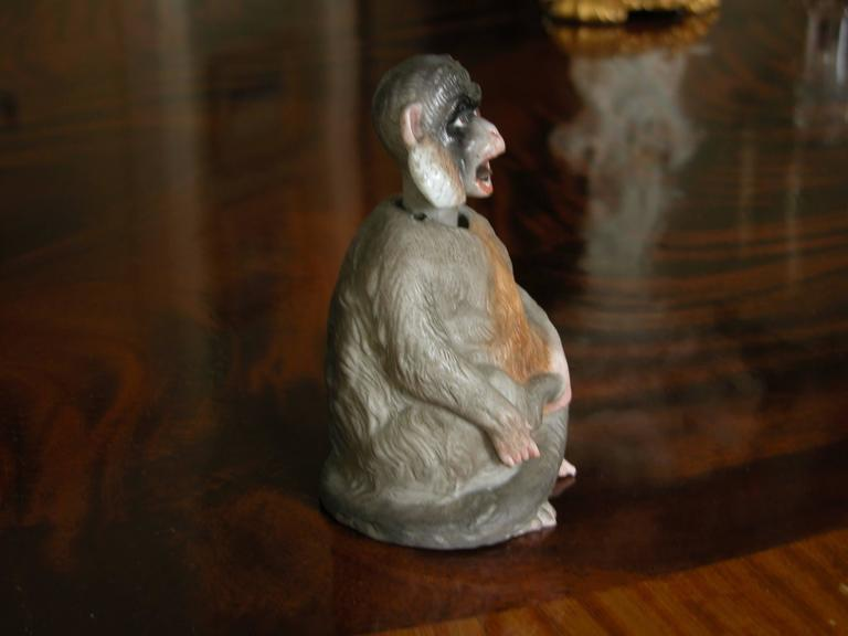 19th Century Porcelain Bobblehead Nodder of a Monkey by Ernst Bohne & Sohne For Sale 3