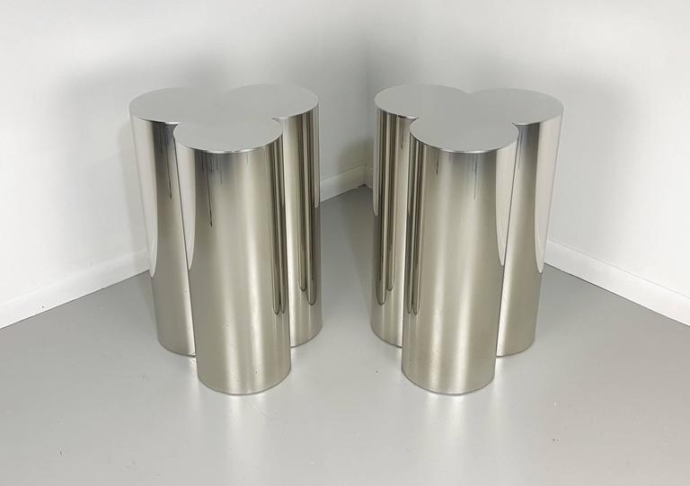 Custom Trefoil Dining Table Pedestal Bases In Mirror