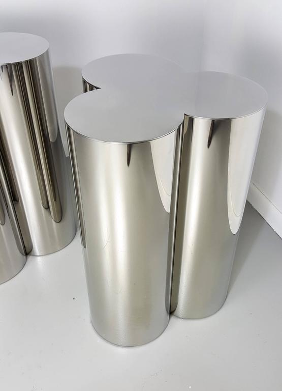 Attrayant Custom Trefoil Dining Table Pedestal Bases In Mirror Polished Stainless  Steel. The Finish Appears As