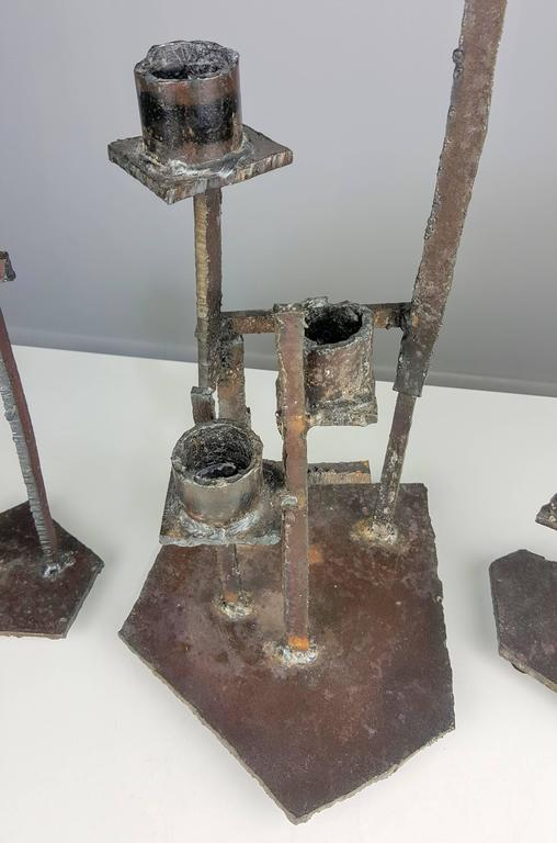 Monumental Trio of Brutalist Candlesticks in the manner of Paul Evans 3