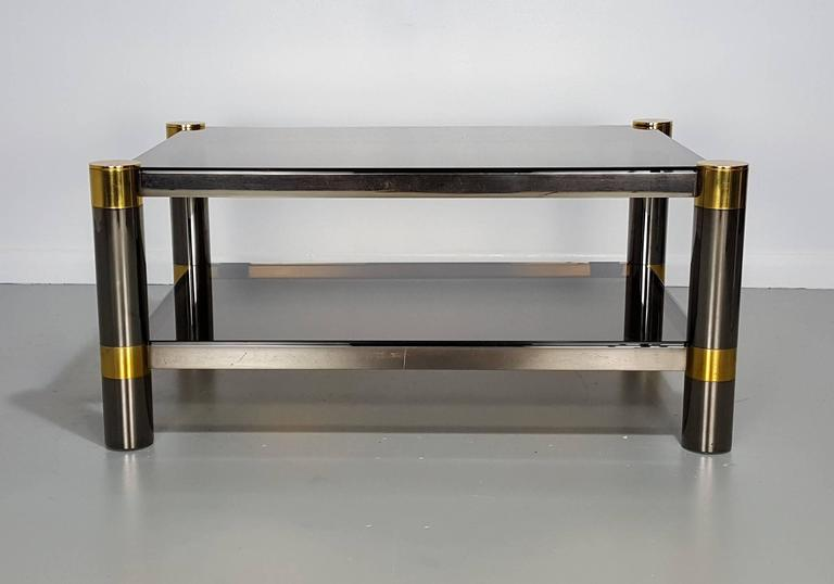 Chrome Karl Springer Coffee Table in Rare Gunmetal and Gold Tone Finish, Signed, 1970s For Sale