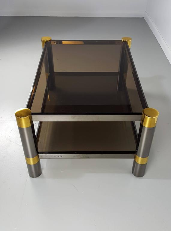 Late 20th Century Karl Springer Coffee Table in Rare Gunmetal and Gold Tone Finish, Signed, 1970s For Sale