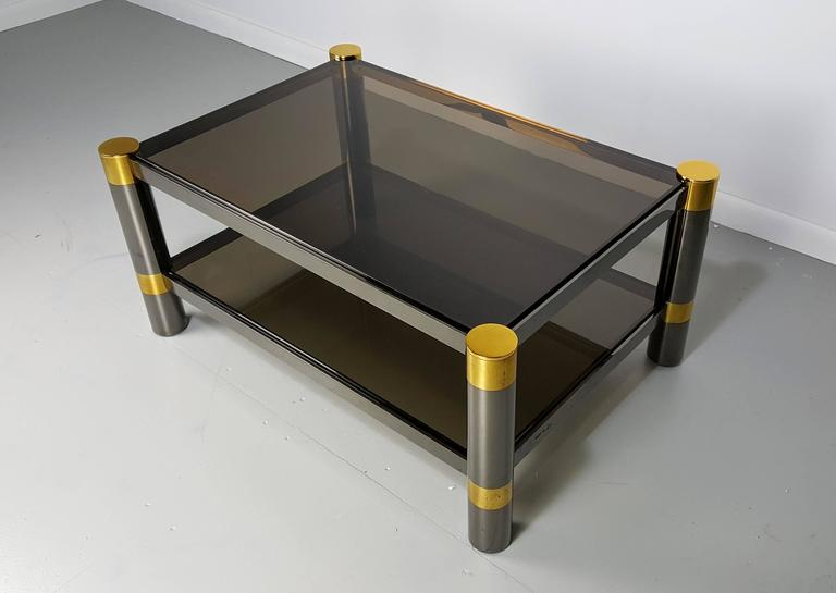 Mid-Century Modern Karl Springer Coffee Table in Rare Gunmetal and Gold Tone Finish, Signed, 1970s For Sale