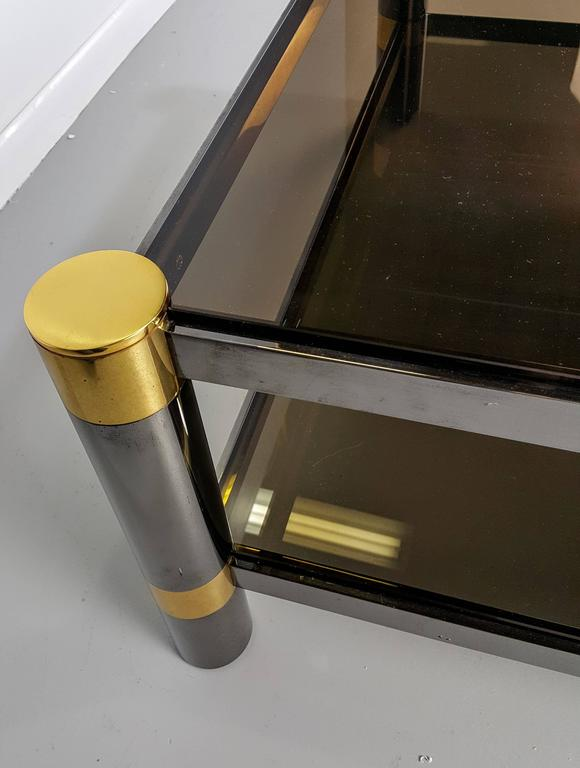 Karl Springer Coffee Table in Rare Gunmetal and Gold Tone Finish, Signed, 1970s For Sale 1