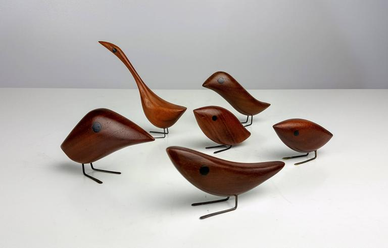 Grouping of Teak Bird Sculptures by Jacob Hermann, Denmark, 1950s In Excellent Condition For Sale In New York, NY