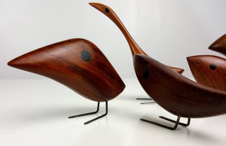 Grouping of Teak Bird Sculptures by Jacob Hermann, Denmark, 1950s 4