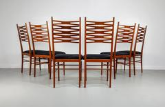 Set of 6 Italian Ladder Back Dining Chairs, 1950s