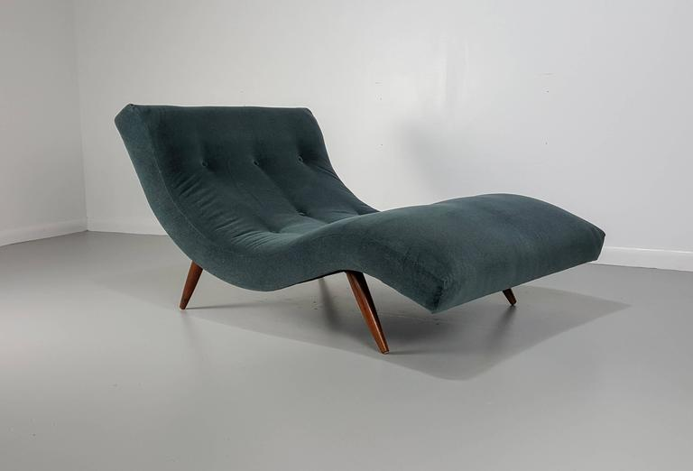 undulating wave chaise longue chairs in mohair by adrian