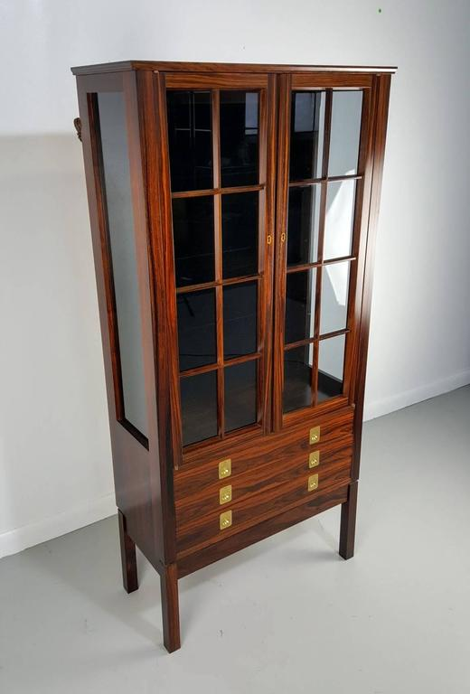 Rosewood Lighted Curio Cabinet By Torbj 248 Rn Afdal Norway