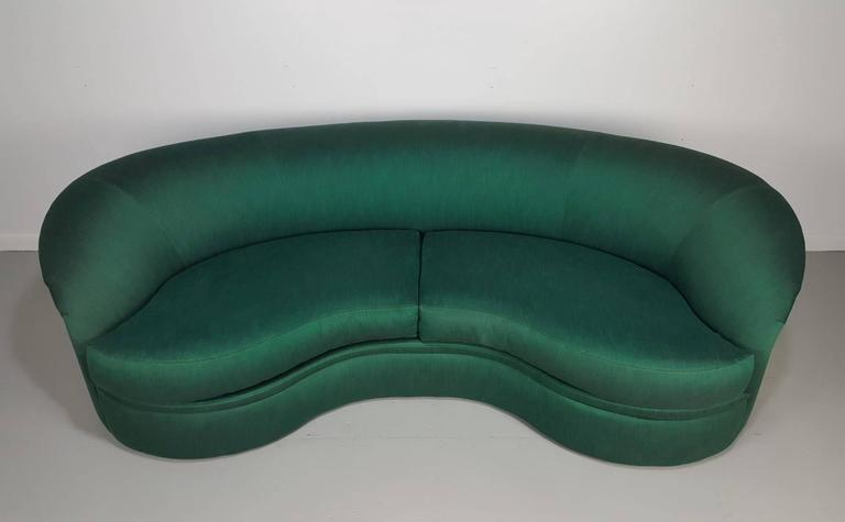 Mid Century Modern Vladimir Kagan Sofa Biomorphic Kidney Form For Directional Furniture 1980s