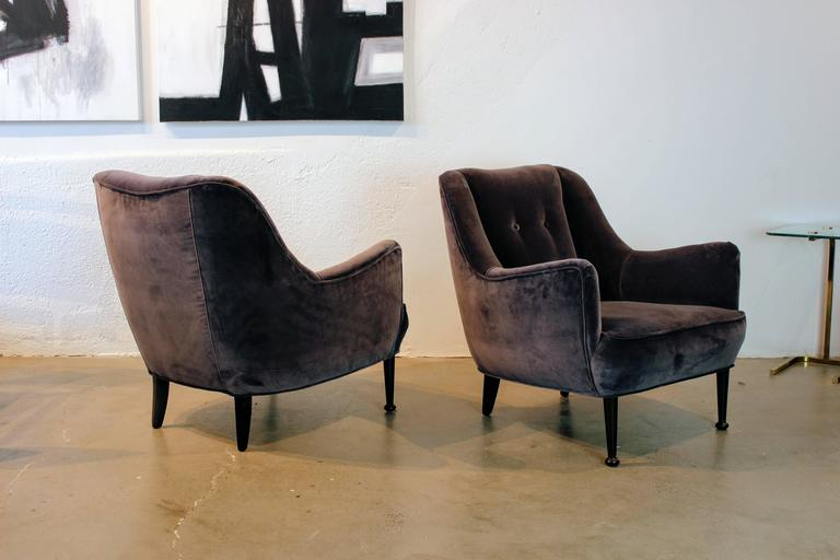 Gorgeous Pair Of Mid Century Modern Lounge Chairs In Deep