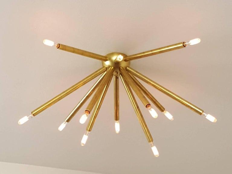 Mid-Century Modern STROBUS Glam Brass Flush Mount Light Fixture, Blueprint Lighting 2017 For Sale