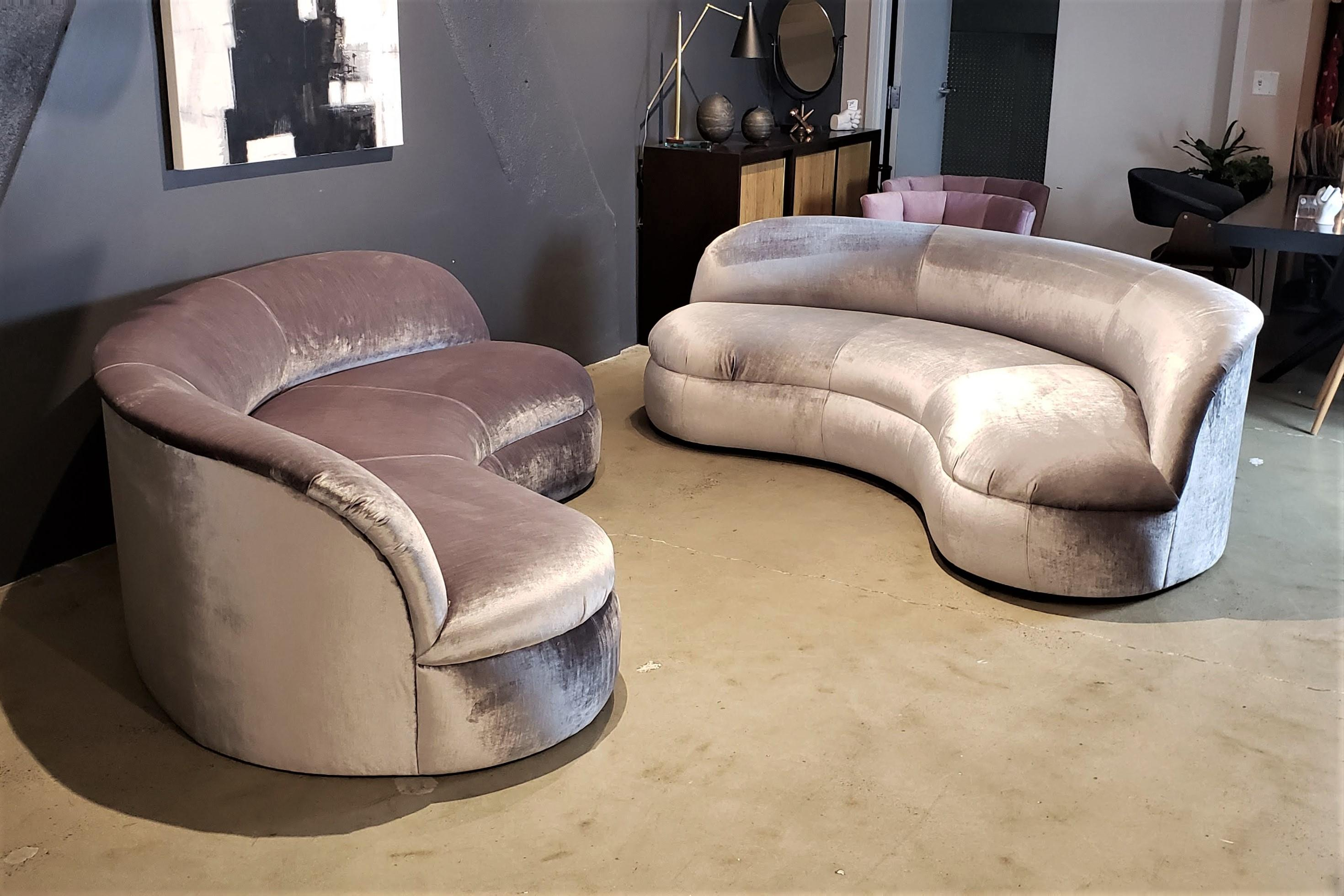 Restored Velvet Biomorphic Curved Sofa