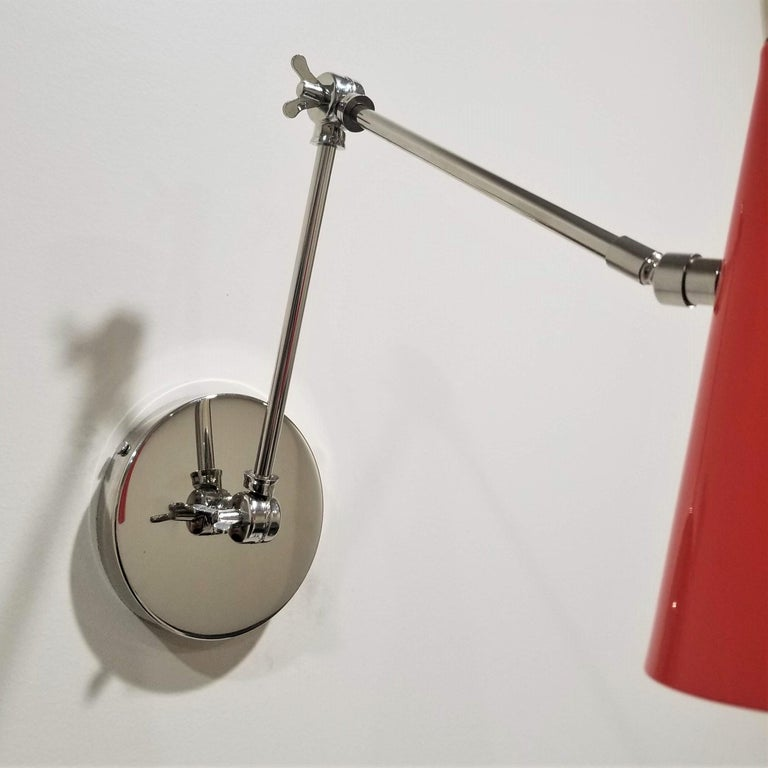 American 'Monolith' Reading Lamp in Red Orange and Polished Nickel, Blueprint Lighting For Sale
