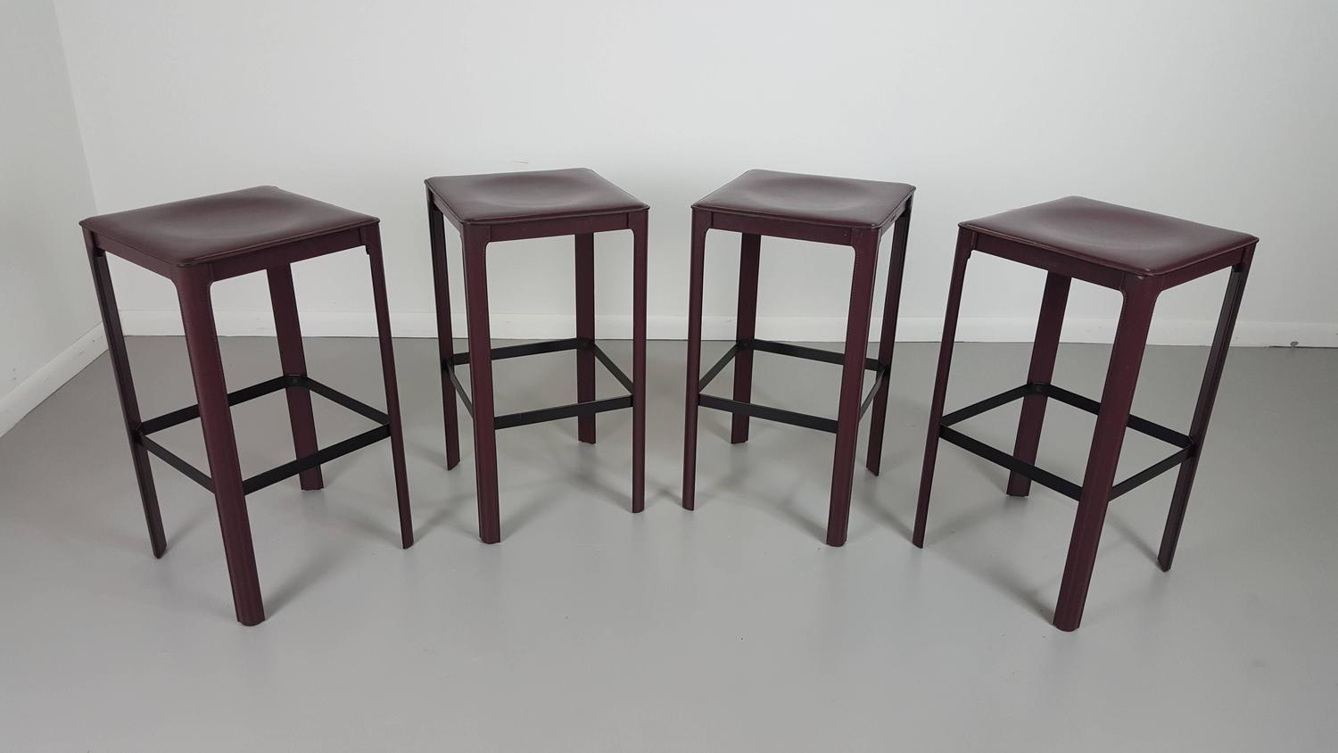 Stately Counter Stools in Heavy Bordeaux Leather by Matteo  : 20151102143506z from 1stdibs.com size 1500 x 844 jpeg 64kB