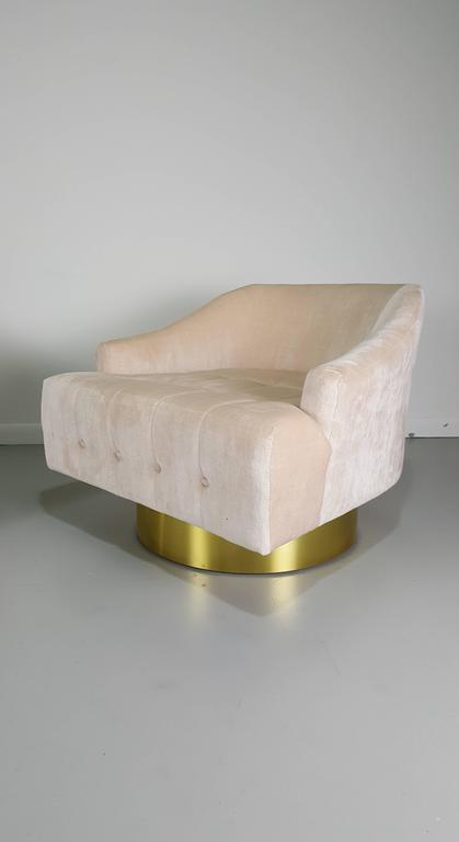Glamorous ecru velvet lounge chairs with polished bronze for Arp arredamenti