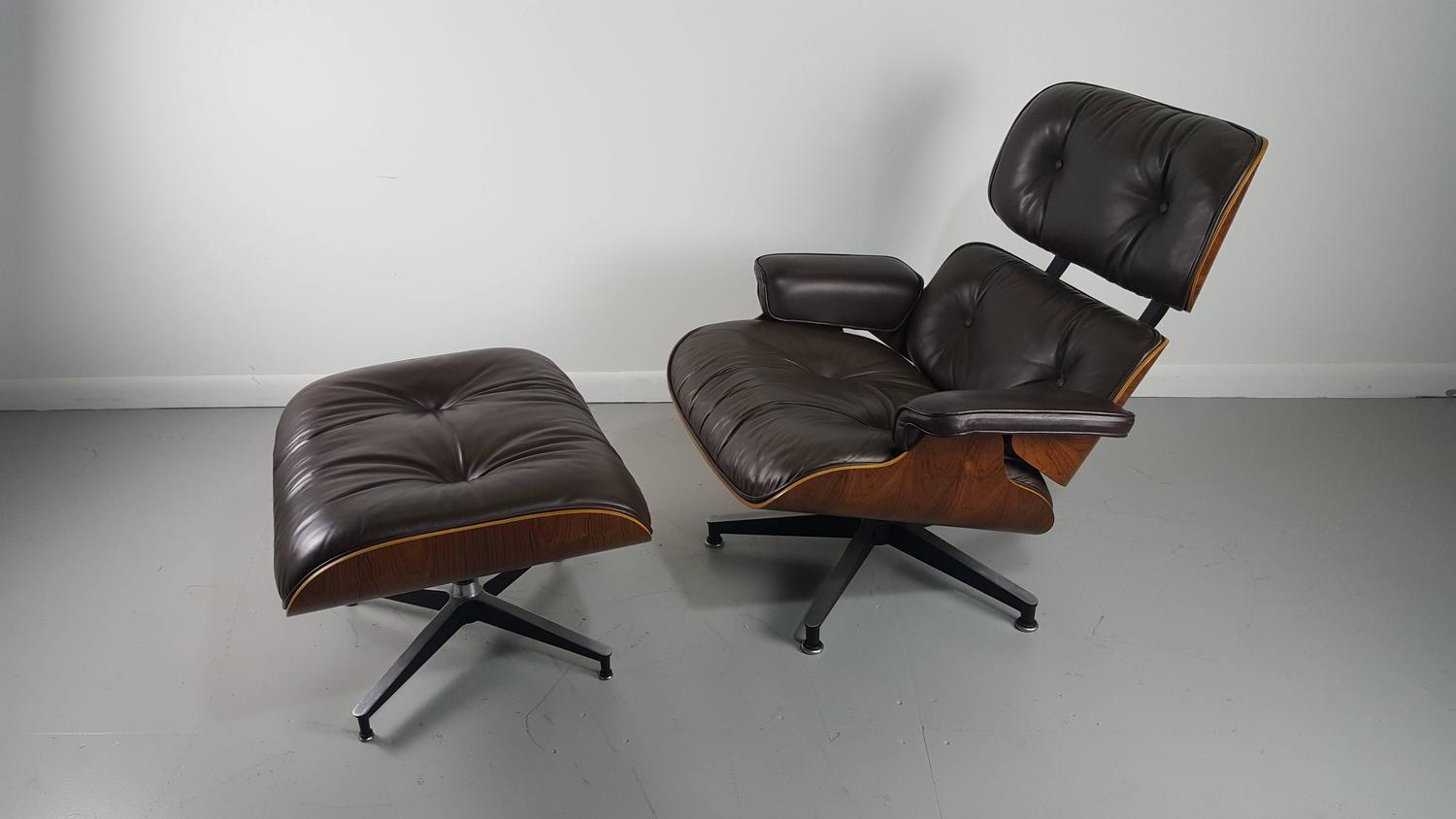 Iconic Eames Lounge Chair And Ottoman In Brown Leather And Rosewood At 1stdibs