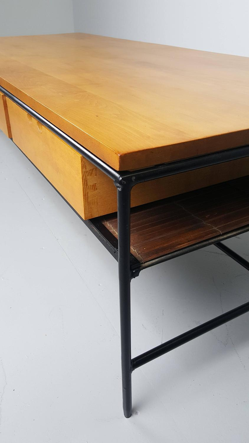 Beautiful Iron And Maple Coffee Table By Paul Mccobb 1950s For Sale At 1stdibs