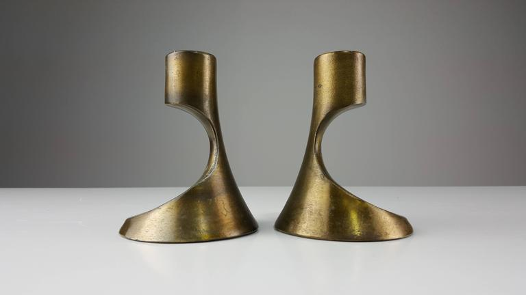 Sculptural Brass Candleholders Attributed to Ben Seibel, 1950s 2