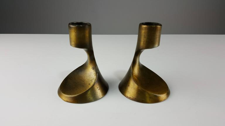 Sculptural Brass Candleholders Attributed to Ben Seibel, 1950s 3
