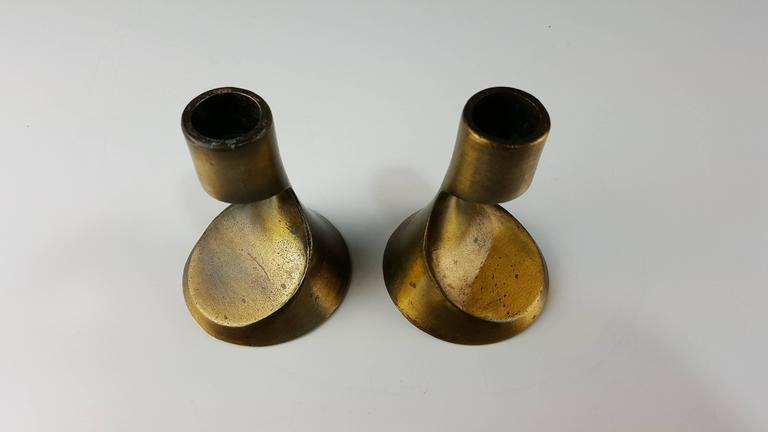 Sculptural Brass Candleholders Attributed to Ben Seibel, 1950s 4